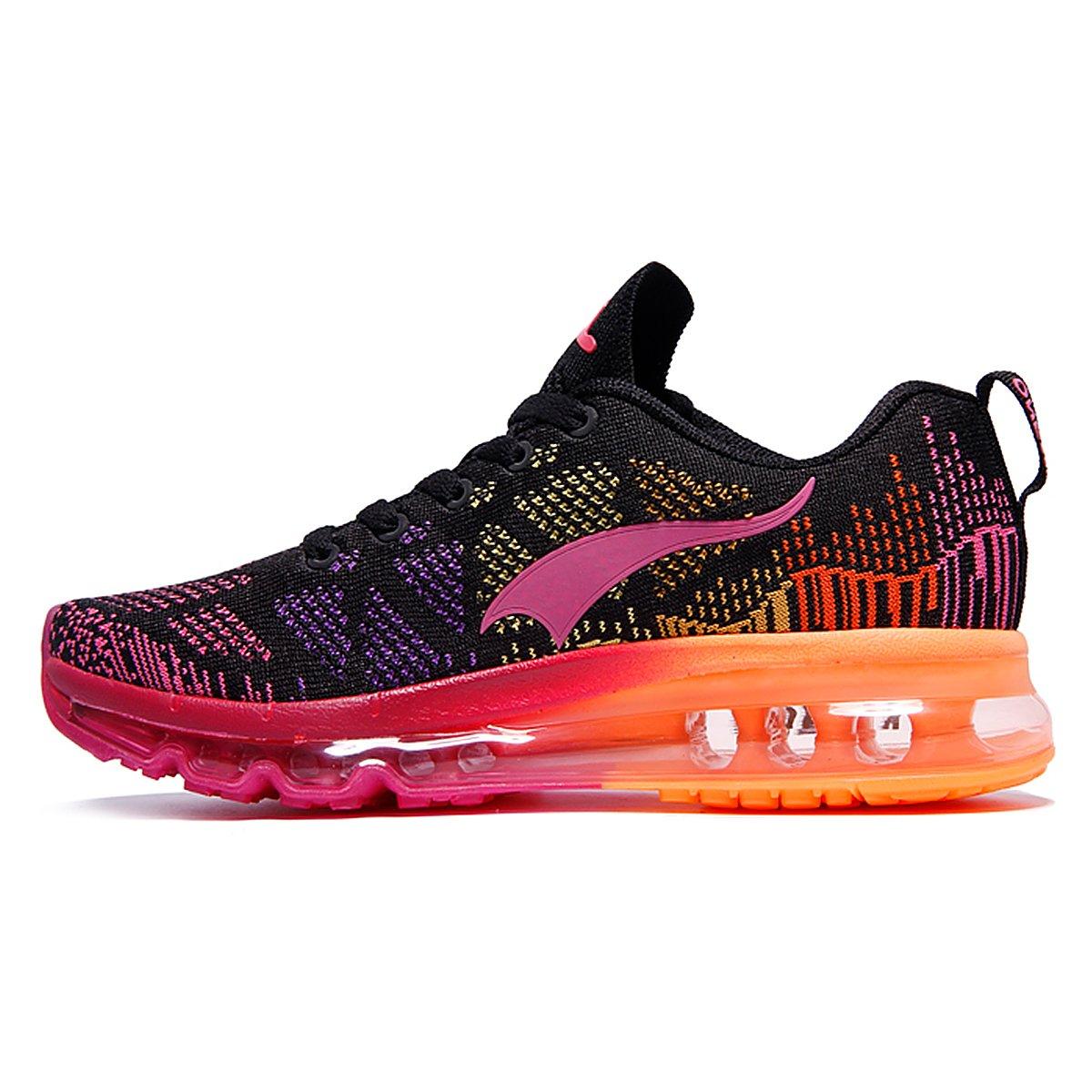 ONEMIX Women's Lightweight Air Cushion Outdoor Sport Running Shoes B07BQNSS9M Women 6.5(M)US/Men 5(M)US 37EU|Blackred-1