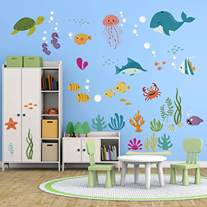 decalmile Under the Sea Dolphin Fish Wall Stickers Kids Room Wall Decor  Vinyl Peel and Stick Wall Decals for Baby Nursery Childrens Bedroom  Bathroom ...