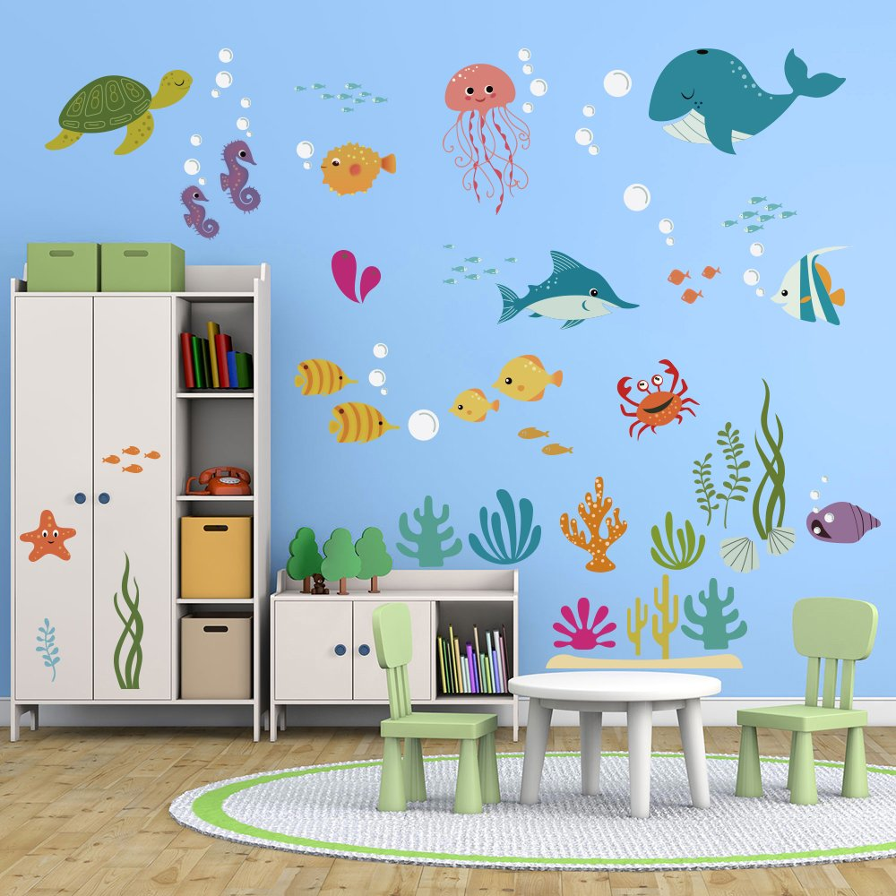 DecalMile Under the Sea Dolphin Fish Wall Stickers Kids Room Wall Decor Vinyl Peel and Stick Wall Decals for Baby Nursery Bedroom Playing Room