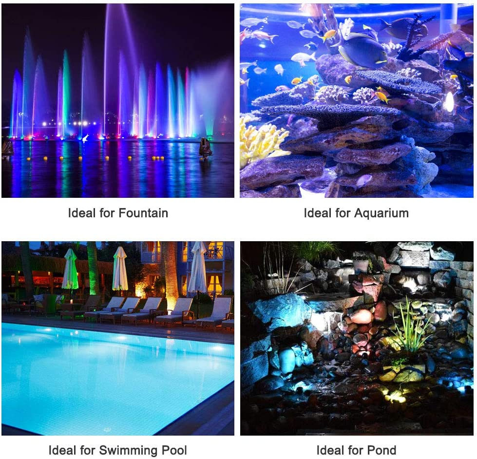 MUCH Submersible Spotlight,IP68 Waterproof Underwater Submersible Lamp Remote Control,36-LED Multi-Color Landscape Decor Spot Lights for Lawn Garden Fountain Swimming Pool Pond Lights Set of 4