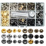 120 Set Leather Snap Fasteners Kit, 12.5mm Metal Button Snaps Press Studs with 4 Installation Tools, 6 Color Leather…