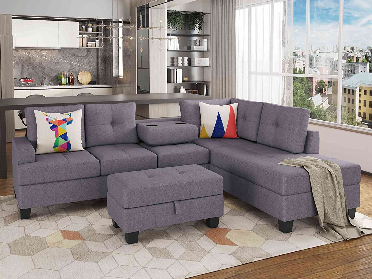 Cotoala Modern Large Sectional Set, L Shaped Microfiber Sofa Couch with with Reversible Chaise Lounge Storage Ottoman and Cup Holders for Living Room Furniture-Gray