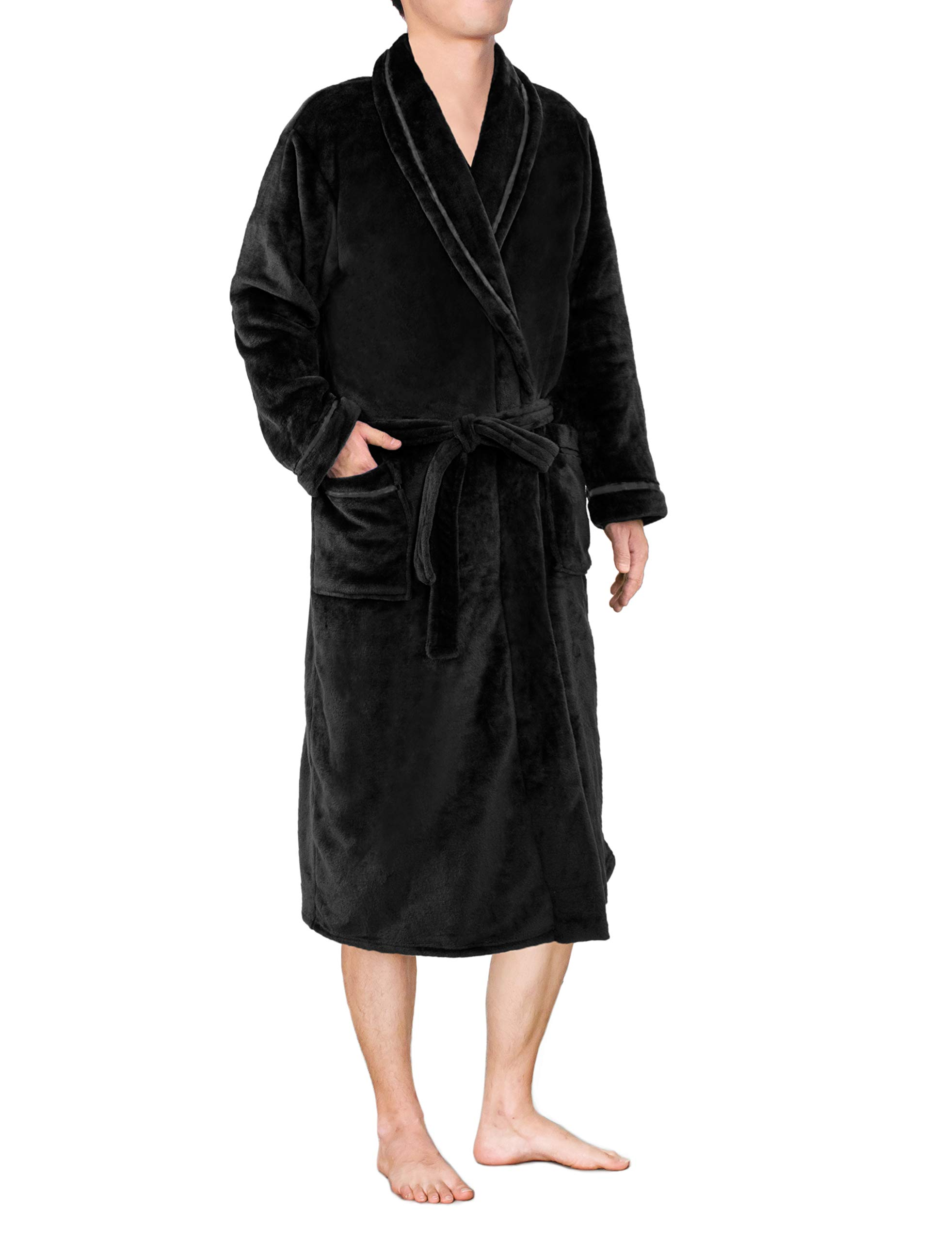 Mens Plush Fleece Robe with Satin Trim | Soft, Warm, Lightweight Spa Bath Robe Satin Black by PAVILIA