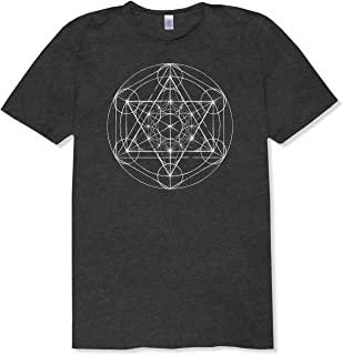 product image for Soul Flower Metatron's Cube Organic Cotton Recycled Short Sleeve Unisex T-Shirt - Black Crew Neck Tee for Men and Women