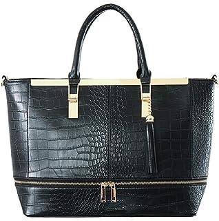 b60939f36 CRAZYCHIC - Bolso de Mano Mujer Grande - Bolso Tote Shopper Cuero Genuino  Cocodrilo En Relieve