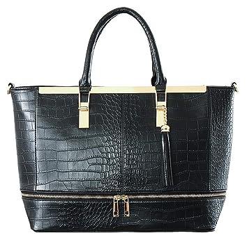 b4e8c1bef3a16 CRAZYCHIC - Damen Kroko Tragetasche - Große Tote Shopper Handtasche - Krokodil  Muster PU Leder Schultertasche