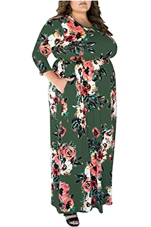 5a205fe718b9b6 VIVOSKY Women's Plus Size Maxi Dress Floral Print Long Dress Three Quarter  Sleeve with Pocket Floor