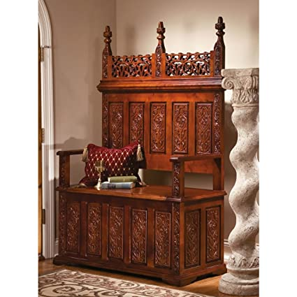 """67"""" Hand-carved Solid Hardwood Antique Replica Monastery Solid Gothic  Bench - Amazon.com: 67"""