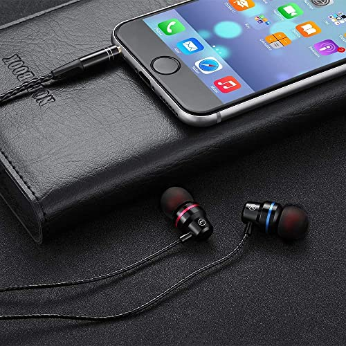 Noise Cancelling 3.5mm Audio Jack in-Ear Wired Metal Earphones Earbuds Headphones with Microphone Volume Control for Samsung Galaxy Note 9 A20 S10 S9, LG V40 ThinQ, Moto G7 Z4 Play G6 Plus Black