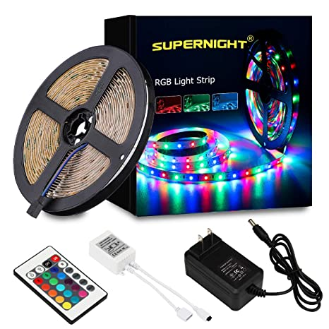 Rgb Led Strip.Supernight Led Strip Lights 5m 16 4 Ft Smd 3528 Rgb 300 Led Color Changing Kit With Flexible Strip Light 24 Key Ir Remote Control Power Supply