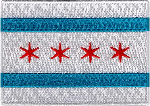 Chicago City Flag Embroidered Iron On Sew On Illinois Patch