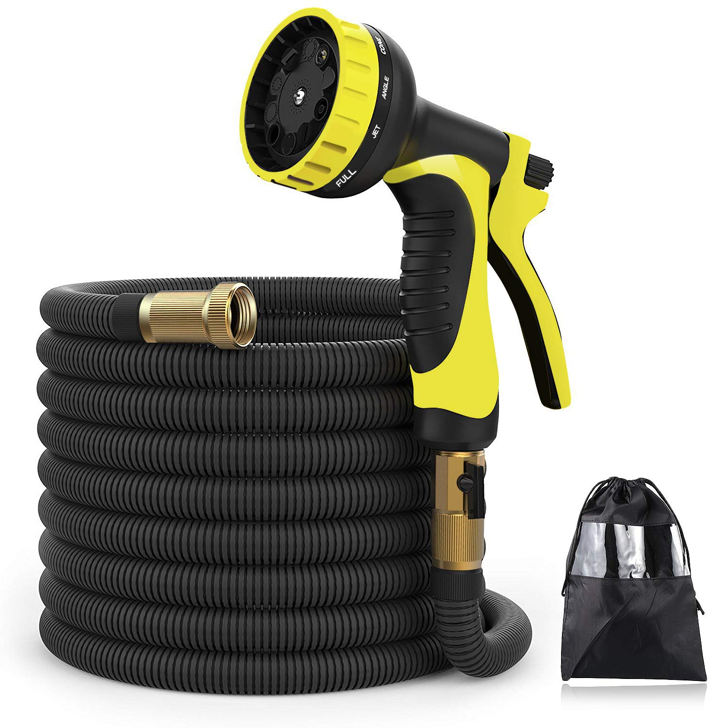 XBUTY New Version Garden Hose, 50FT Expandable Water Hose 9 Patern Spray Nozzle, High Pressure Extra Strength Fabric Double Latex Core 3/4 Solid Brass Fittings with Carrying Bag