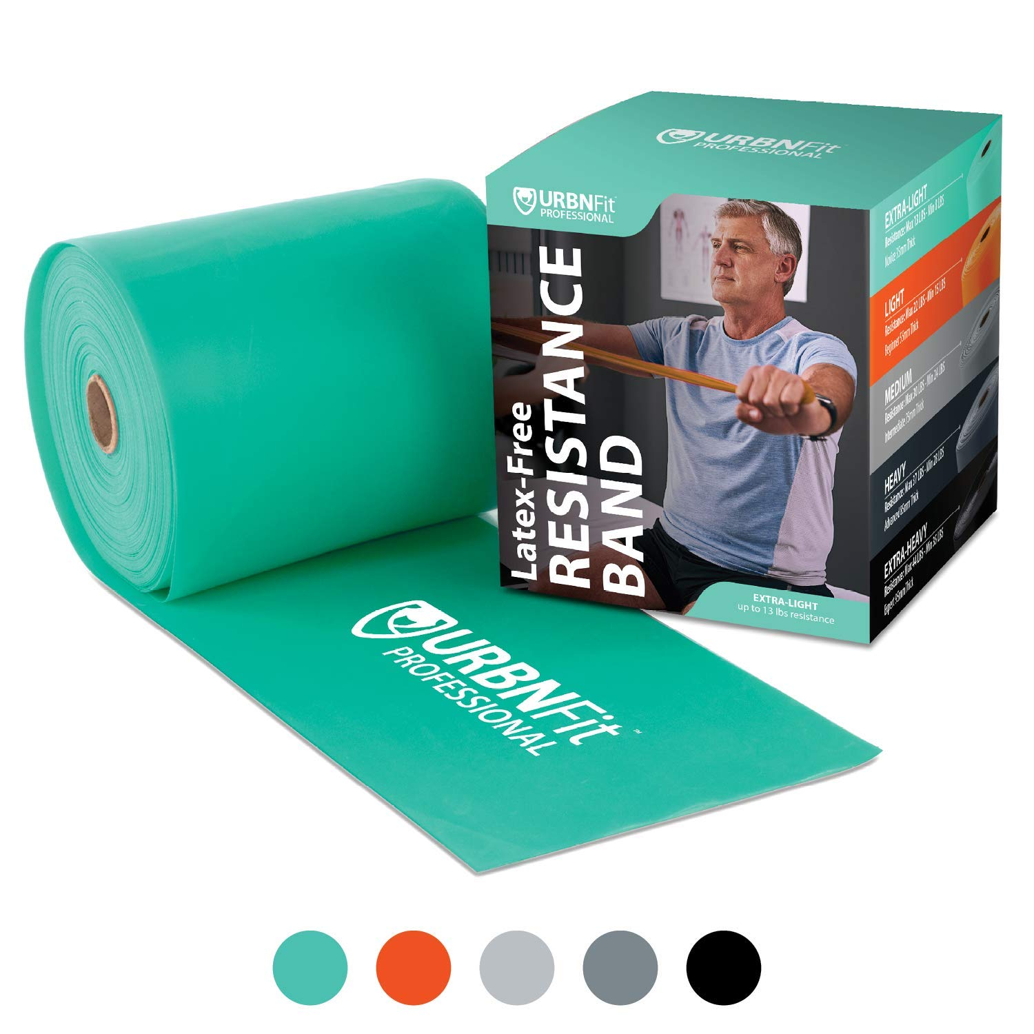 Professional Resistance Bands - 25 Yards (75ft) Latex-Free Elastic Exercise Fitness Band Roll - No Scent, No Powder - Perfect for Physical Therapy & Rehab, Yoga, Pilates (Teal - Light .35mm)