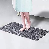 Badmatten Antislip - Extra lange grijze badmat, Soft Chenille Badkamer Rug, Bad Mats, machinewasbaar deurmatten, Floor…
