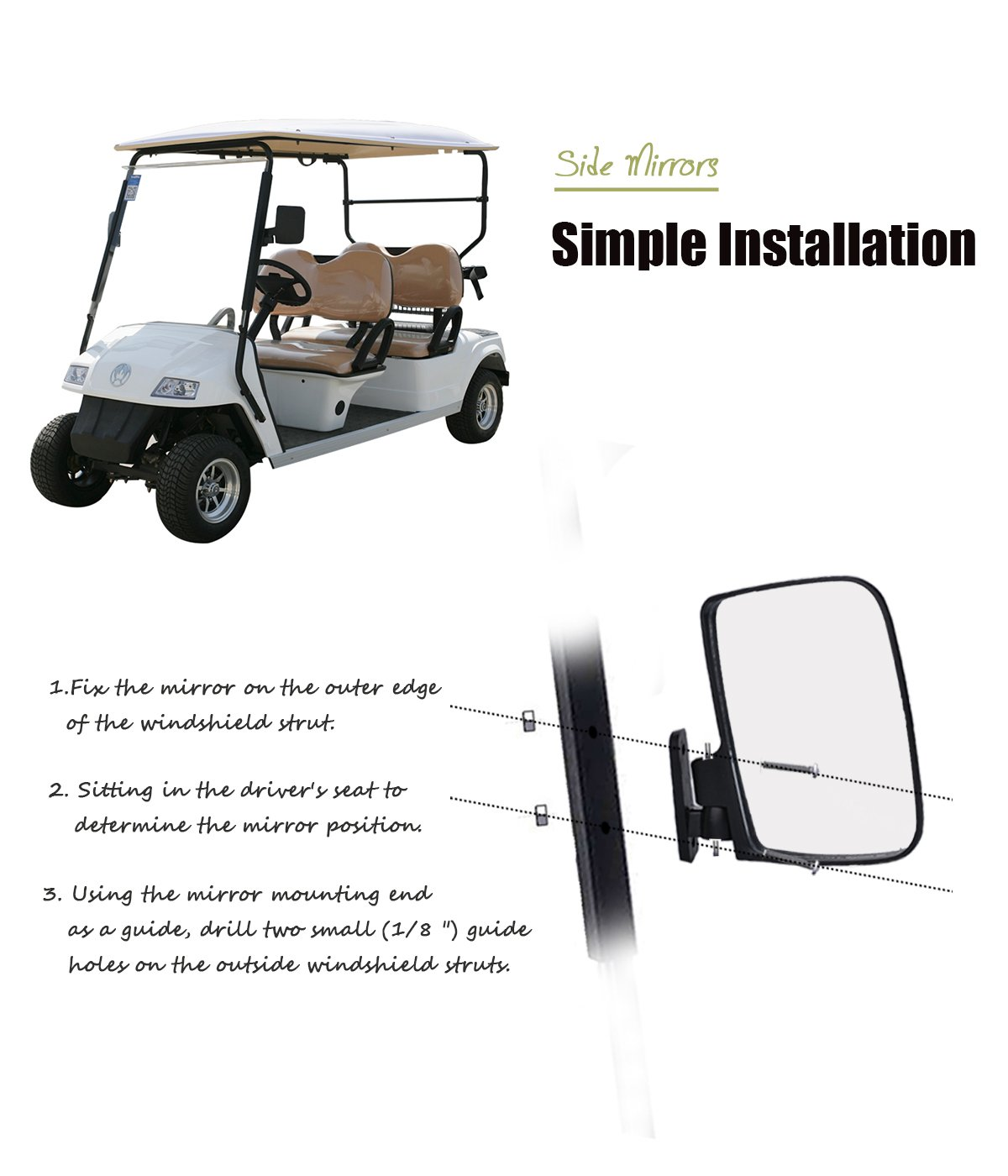 Valchoose Golf Cart Side Mirrors for EZGO Club Car Yamaha, Foldable Golf Cart Accessories by Valchoose (Image #3)