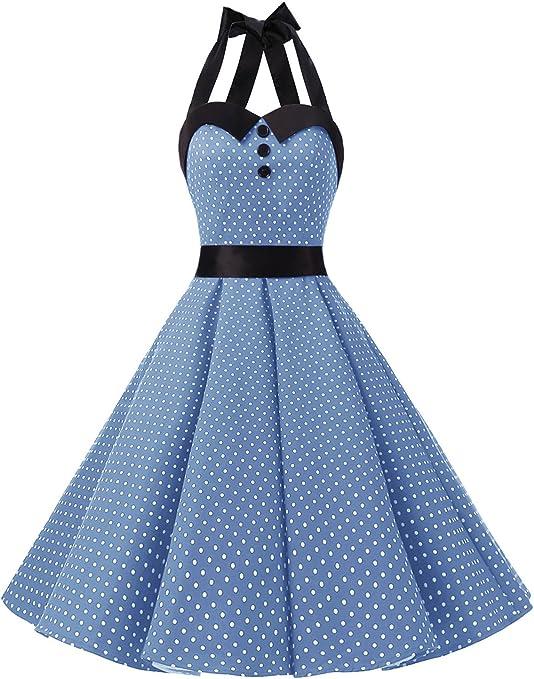 TALLA M. Dressystar Vestidos Corto Cuello Halter Estampado Flores y Lunares Vintage Retro Fiesta 50s 60s Rockabilly Mujer Sky Blue