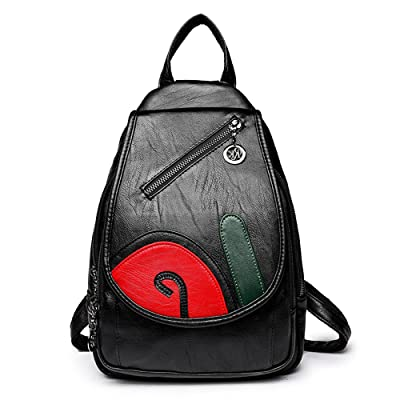 SJMMBB New multi-purpose soft leather shoulder bag female leisure backpack,Black/B,31X21X9CM free shipping