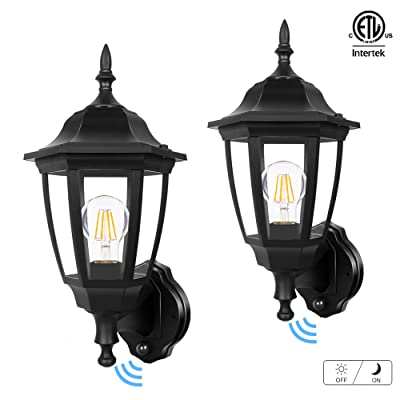 FUDESY Outdoor Dusk to Dawn LED Wall Lantern, Plastic Material Anti-Corrosion Black Porch Sensor Light with LED Edison Filament Bulb, Exterior Mount Lanterns for Porch, Garage(2-Pack), FDS2542EPSB