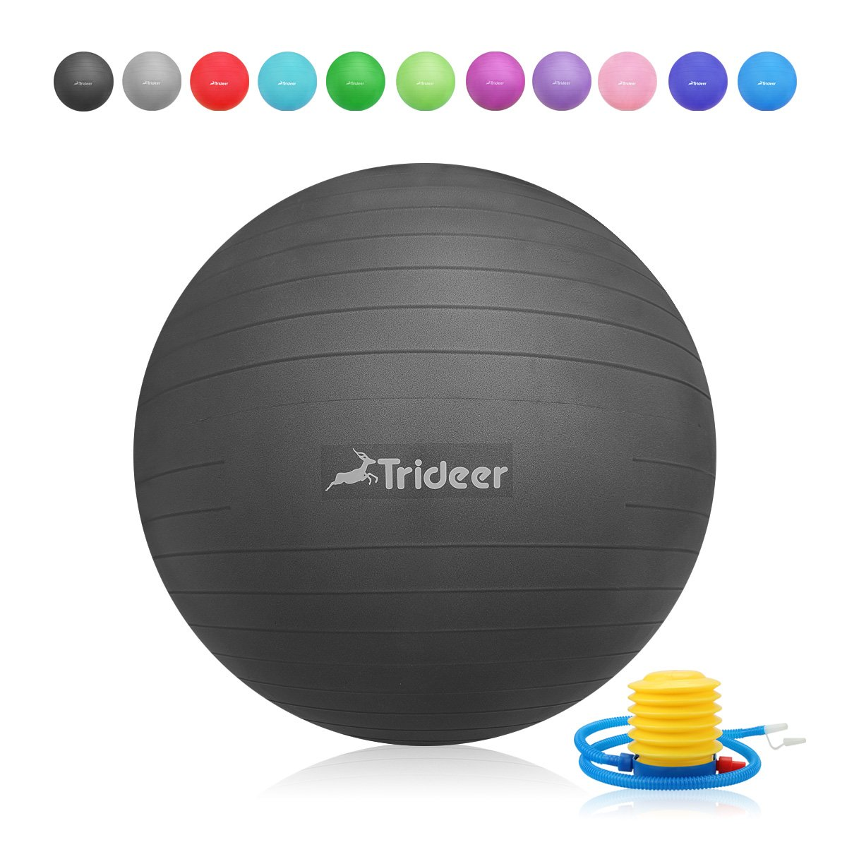 Trideer Exercise Ball (45-85cm) Yoga Ball Chair, Anti-Burst & Extra Thick, Birthing Ball with Quick Pump, Supports 2200lbs, Stability Ball (Office and Home) by Trideer (Image #1)