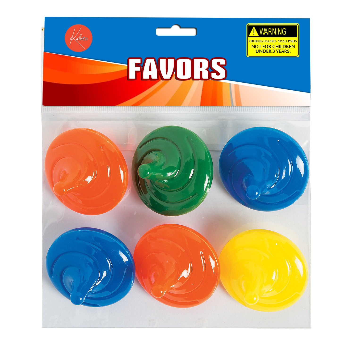 Prize Assorted Vibrant Colors Spin Tops for Kids Great Party Favors by Kidsco Fun Plastic Spinning Tops with Spiral Design 2 Inches Toy Bag Stuffers Gift Pack of 6