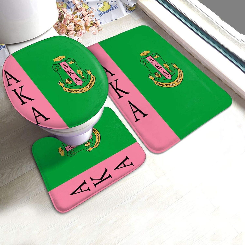 Entuil Aka Decor Bath Carpet Non-Slip Bathroom Living Room Floor Mat Pedestal Rug + Lid Toilet Cover + Bath 3 Piece Toilet Mat Set