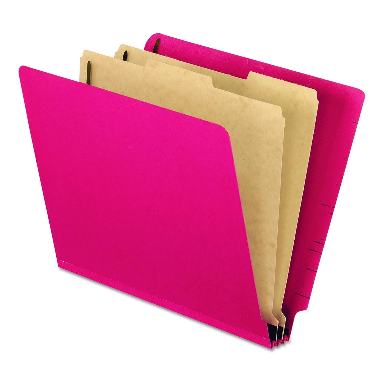 Pressboard End Tab Classification Folders, Letter. Six-Section, Red, 10/Box