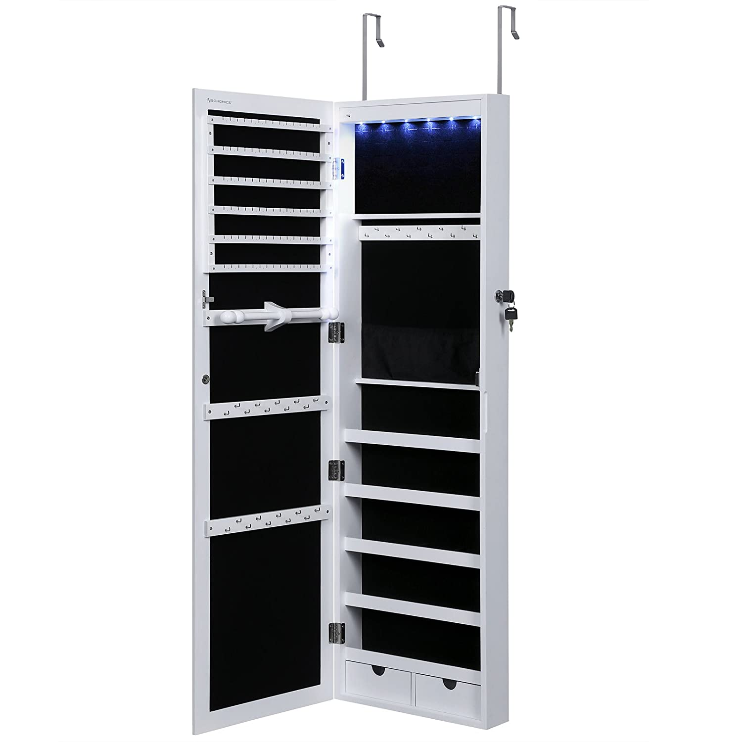 Amazoncom SONGMICS 6 LEDs Jewelry Cabinet Lockable Wall Door