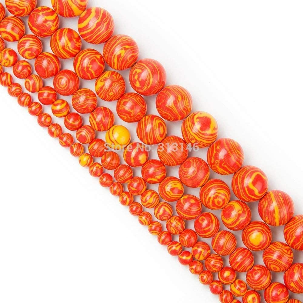 Color : Red and Yellow, Size : 10mm SHENGSHIHUIZHONG Wholesale Round Peacock Malachite Lace Striped Stone Stone Strand Beads for DIY Bracelet Necklace Jewelry Making 4 6 8 10 12mm