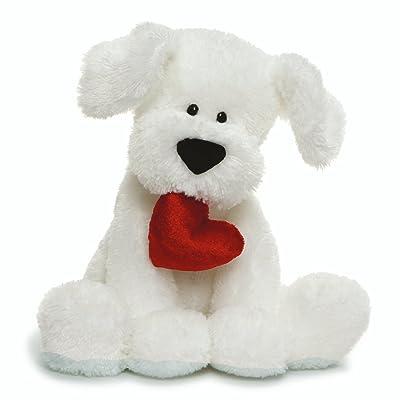 "GUND Valentine's Day Romeo Dog Holding Heart Plush Stuffed Animal, 10"" , White: Toys & Games"
