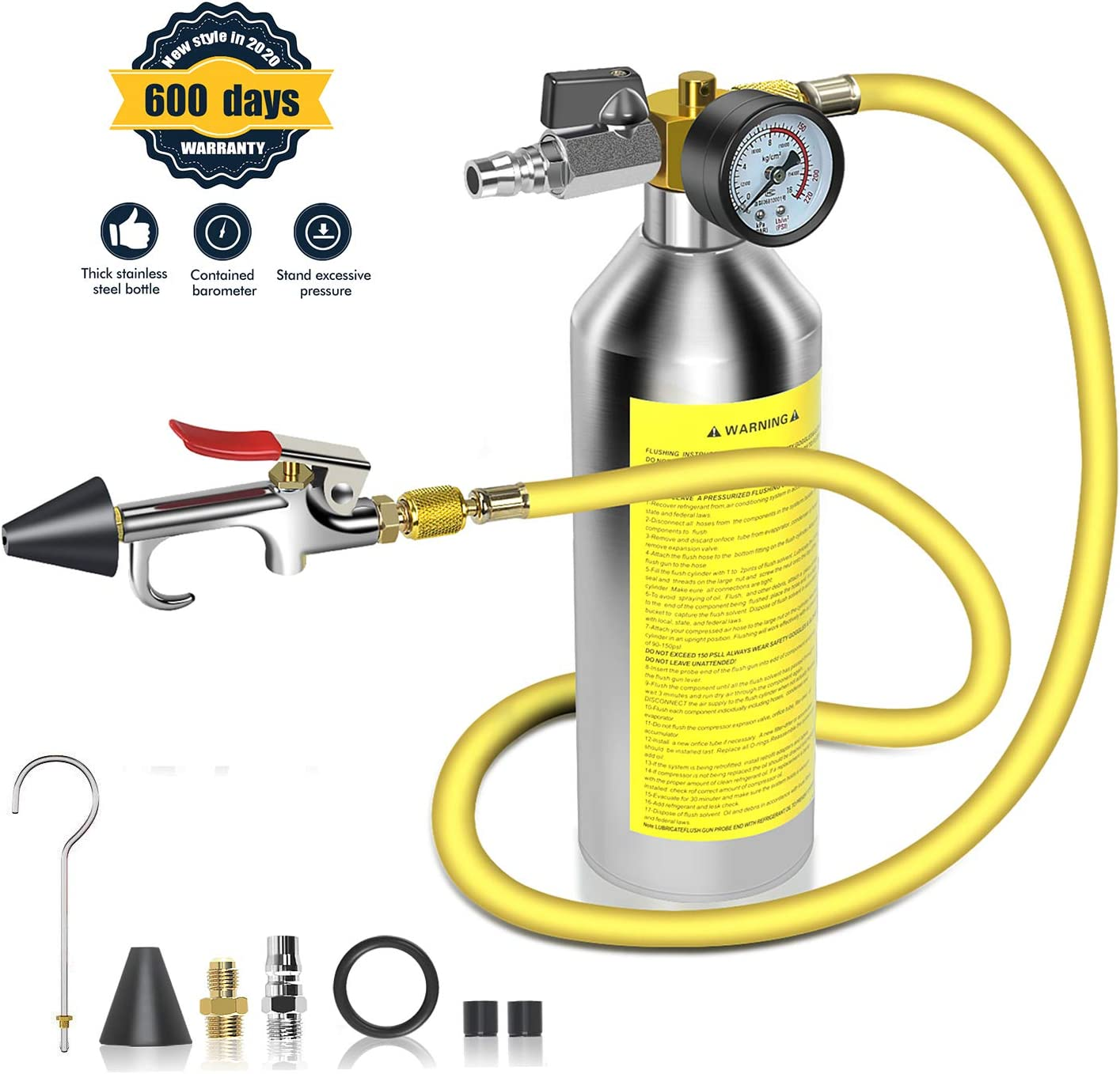 """AC Flush Kit,A/C Air Conditioner System Flush Canister Kit Clean Tool Set R134a R12 R22 R410a R404a for Auto Car with 3.5 ft Hose 1/4"""" Connector"""