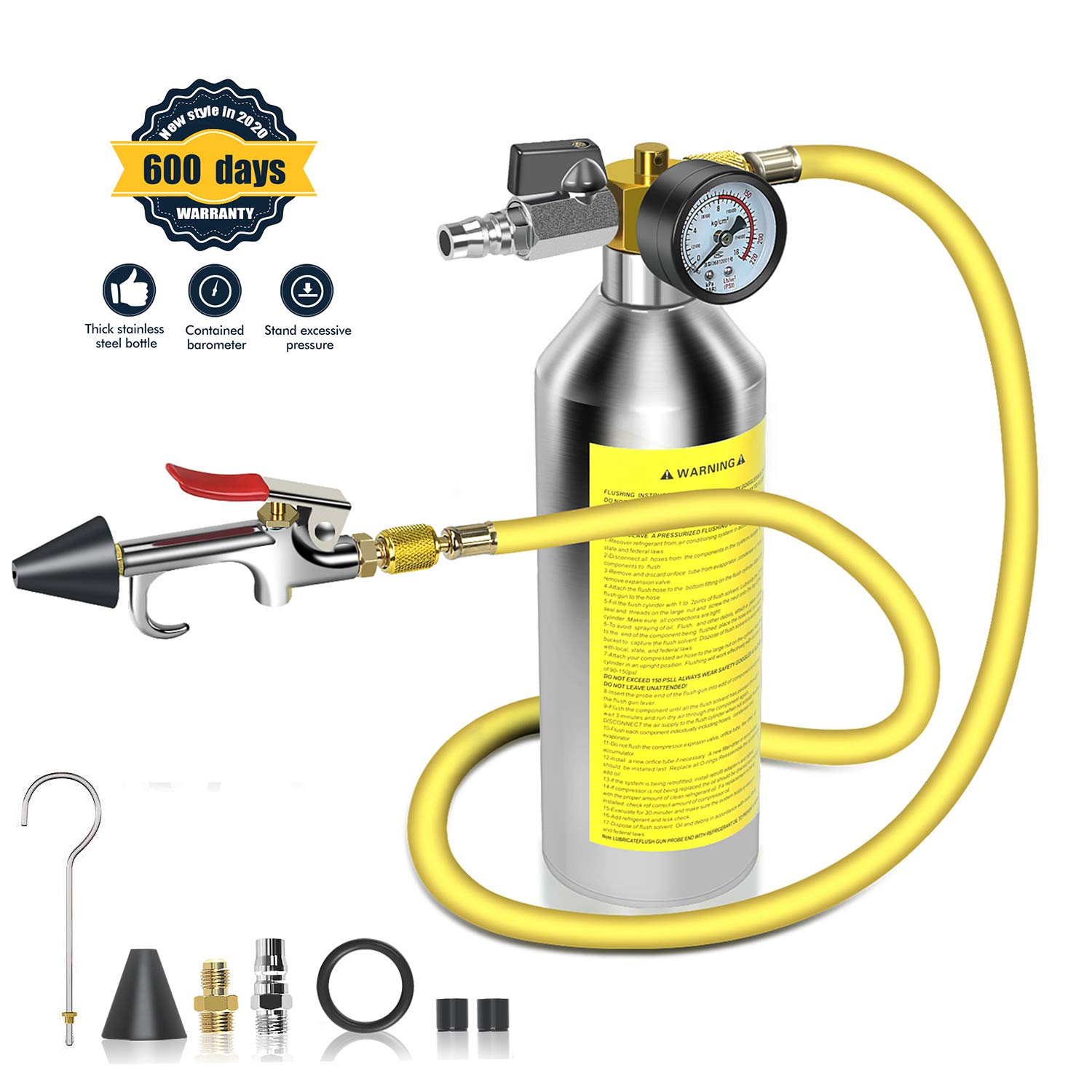 IRONCUBE AC Flush Kit,A/CAir Conditioner System Flush Canister Gun KitClean Tool Set R134a R12 R22 R410a R404a for Auto Car with 3.5 ft Hose 1/4'' Connector