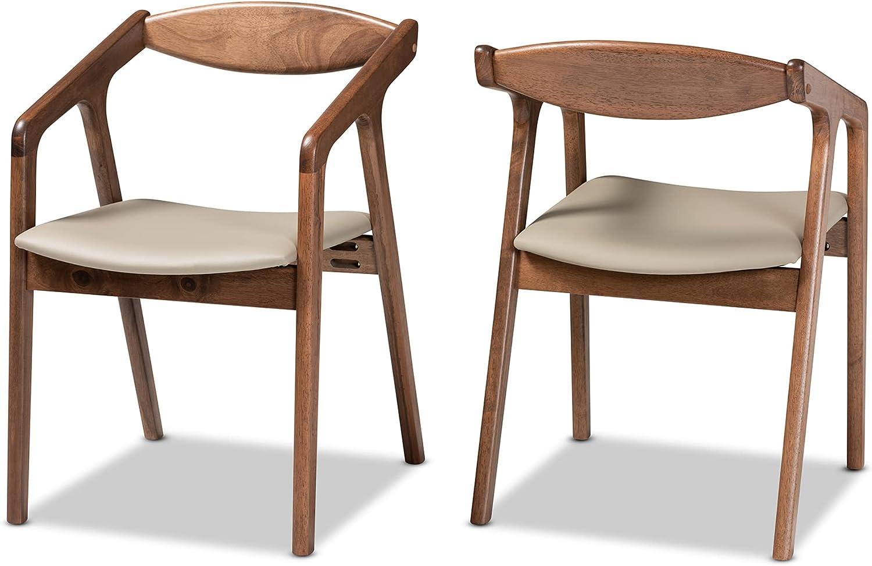 Baxton Studio Set of 2 188-11680-AMZ Dining Chairs, Grey/Walnut Brown