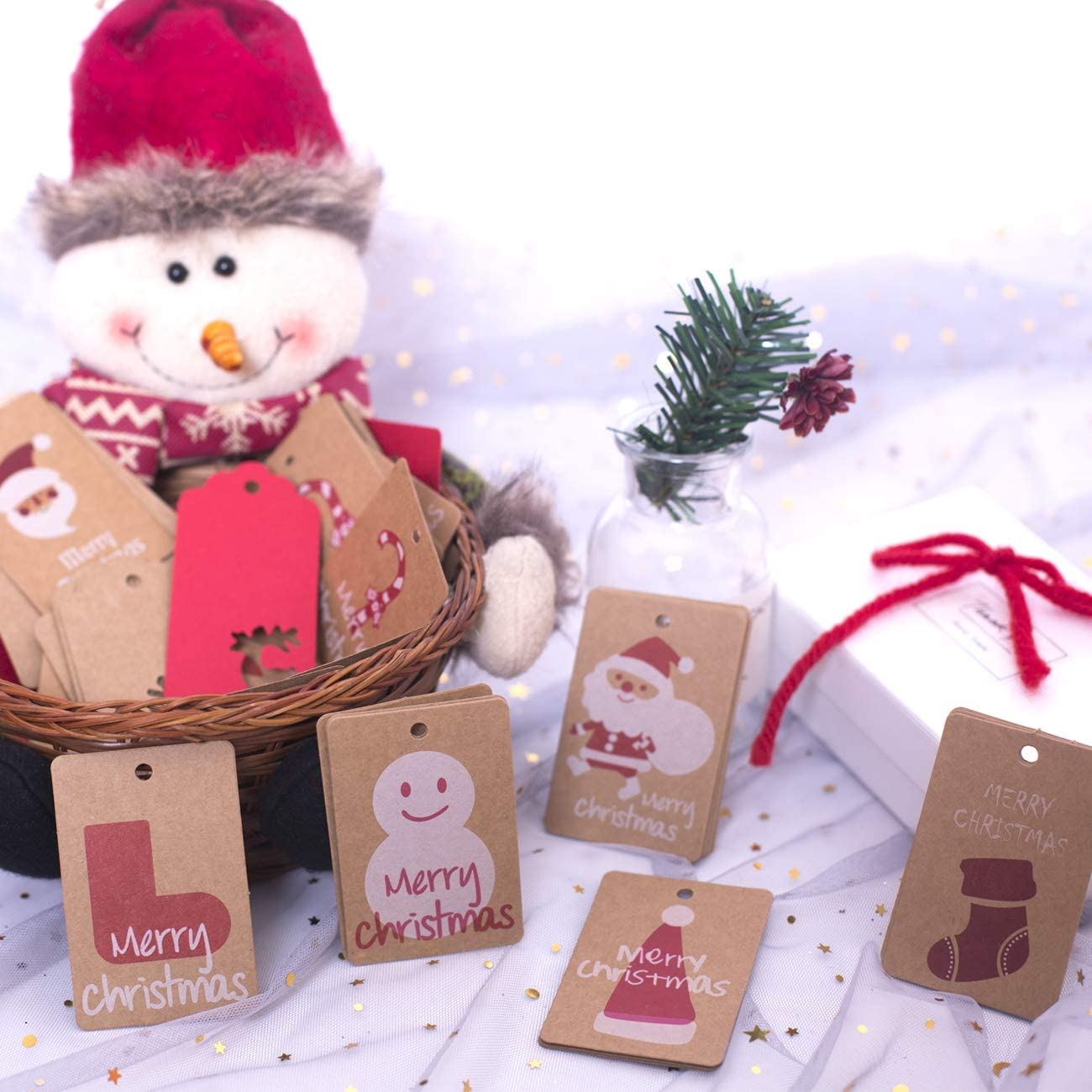 15 Styles WylbJc 150 Pieces Gift Tags Christmas Kraft Paper Hang Label Cards with 20M Brown Hemp Rope Gift Decoration 20M Red and White Cotton Twine and 12pcs Xmas Stickers for DIY Arts/&Crafts