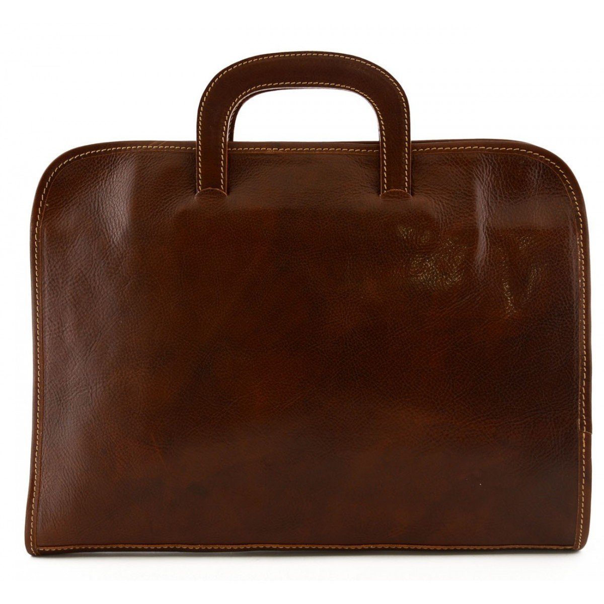 Made In Italy Leather A4 Document Folder With 3 Compartments Color Brown - Business Bag   B0183BGZZQ