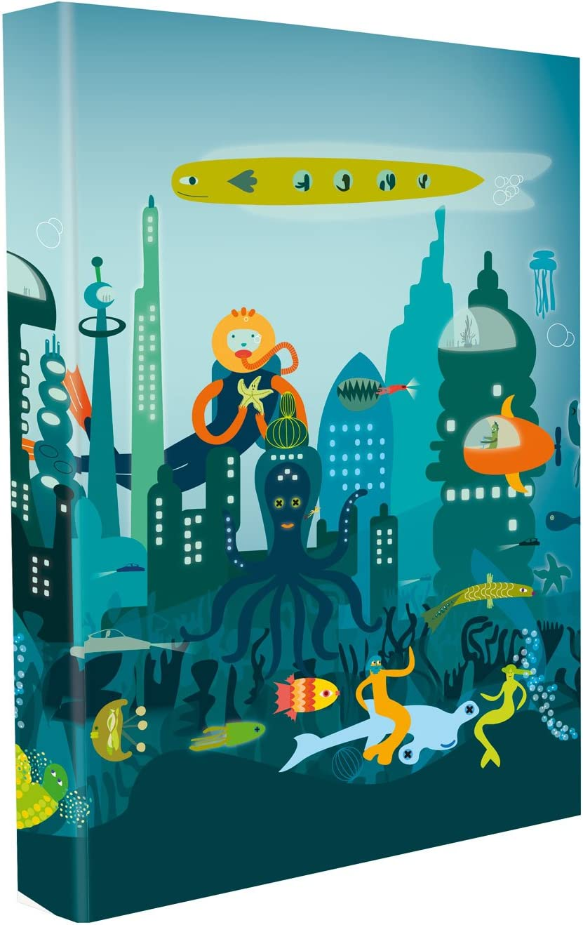 Edima School Kits - Carpeta de 4 anillas, diseño Cuidad Submarina