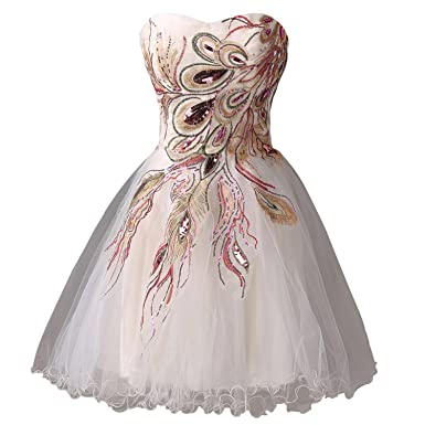 Yamed Sexy Tulle Ball Gown Embroidery Peacock Cocktail Dress Short Dress