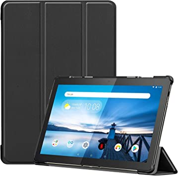 Amazon Com Case For Lenovo Tab M10 Tb X605f 10 1 Inch Smart Cover Etui With Stand And Auto Sleep Wake Feature Black Computers Accessories