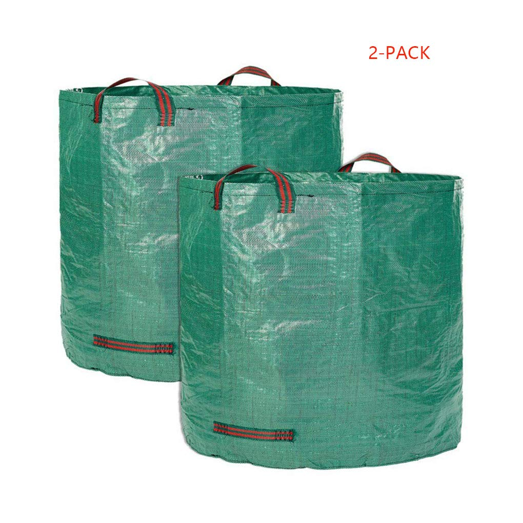 2-Pack 72 Gallons Garden Wast Bags, Extra Large Reusable Branch Leaves Collecting Bag with 4 Handles, Heavy Duty Gardening Bags Collapsible Lawn Yard Pool Wast Trash Storage Containers Buckets Bins