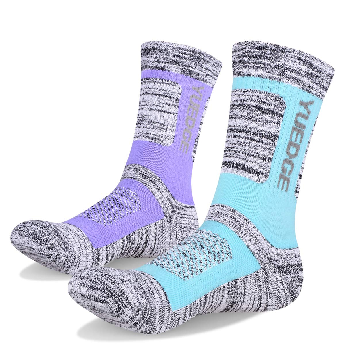 YUEDGE Women's 2 Pairs Wicking Breathable Cushion Casual Crew Socks Outdoor Multi Performance Athletic Hiking Socks (Purple/Light Blue)