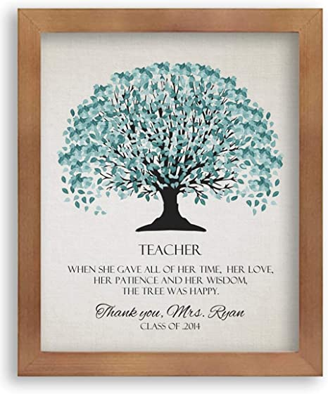 Amazon Com 8x10 Framed Art Print Custom Personalized Gift For School Teacher Appreciation End Of Year Gift From Students Class Family The Tree Was Happy With Solid Wood Frame Gift