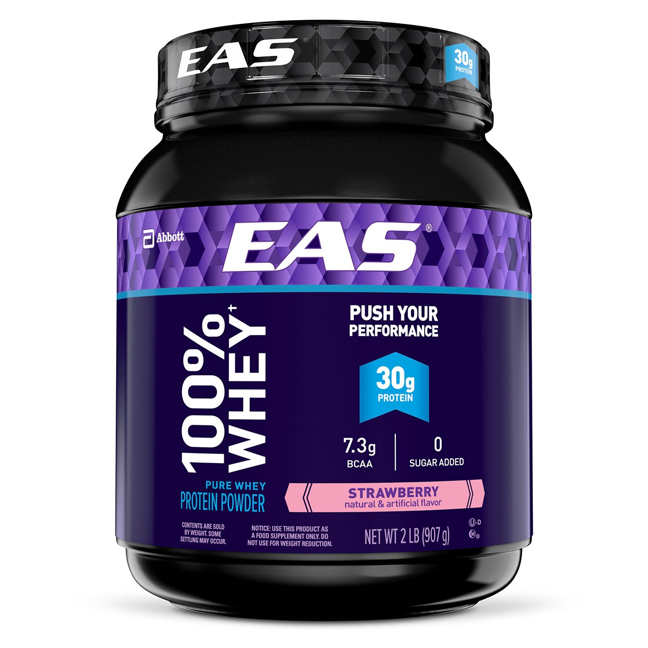 EAS 100% Pure Whey Protein Powder, 30g of Protein, Strawberry, 2 lb (Packaging May Vary)