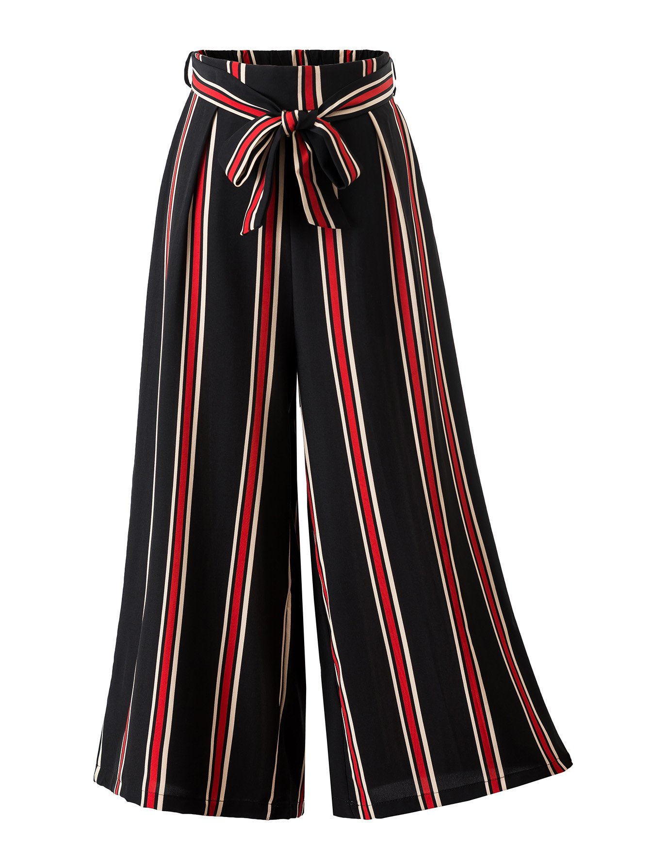 HUILAN Women's Hot Fashion Tenths Wide Leg Pants Bowknot Belted Trousers (Small, Black & Red)