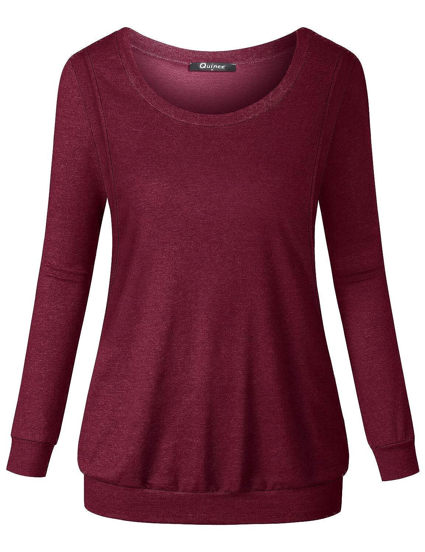 Quinee Womens Long Sleeve Casual Nursing Sweatshirt Breastfeeding Pullover