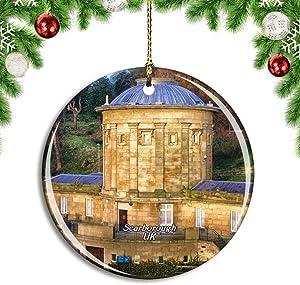 Weekino UK England Scarborough Rotunda Museum Christmas Xmas Tree Ornament Decoration Hanging Pendant Decor City Travel Souvenir Collection Double Sided Porcelain 2.85 Inch