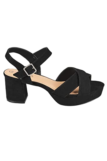 f11f34ca3 Yours Clothing Wide Fit Women s Cross Front Heeled Platform Sandals In Eee  Fit Size 7EEE Black