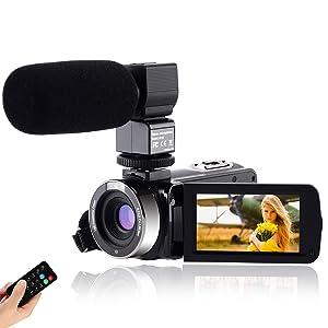 """CofunKool Video Camara 1080P Videocámara 24MP FHD Vlogging Camara para Youtube, 270 ° Flipping 3.0""""Pantalla táctil IPS con micrófono Externo Control Remoto"""
