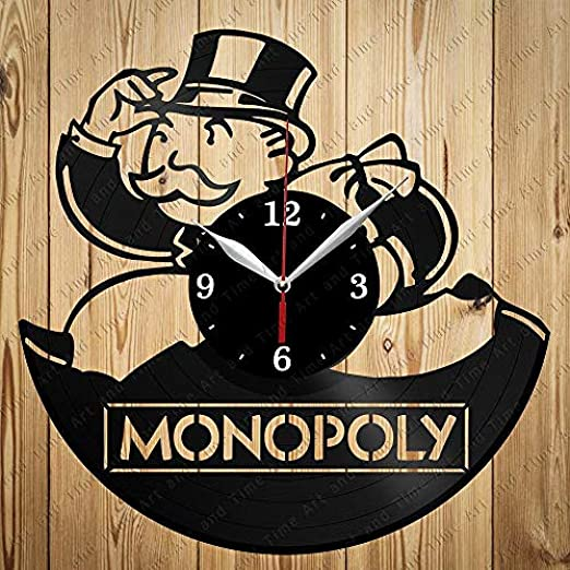 AIYOUBU Monopoly Art Decor Home Reloj de Pared Negro Regalo Original Diseño único-with_LED: Amazon.es: Hogar