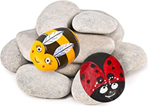 MEKOUZON 16PCS River Rocks for Painting, Naturally Stones for Kindness Arts, 2-3 inch Perfect for DIY Project, Hand Crafts for Family Time, Kid Party and Home Decoration