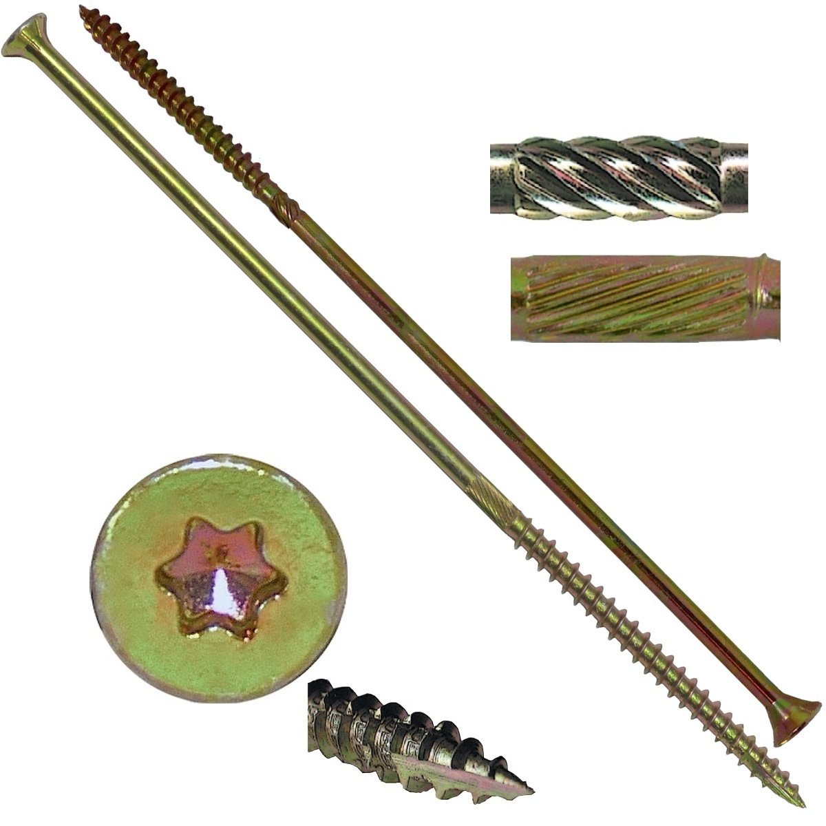 "#15x14"" Gold Star Wood Screw Torx/Star Drive Head (1 Pound) - Multipurpose Torx/Star Drive Wood Screws"