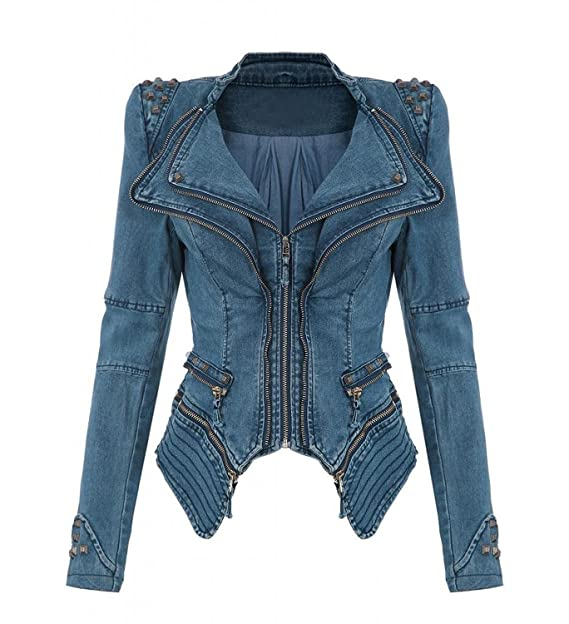 Amazon.com: Womens Punk Denim Bomber chamarra biker Blazer ...